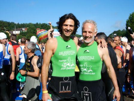 Vitargo Sportler Hartmut Andres und Patric Bialas vom WSF Zweicbrücken bei der Triathlon WM in Immenstadt erfolgreich