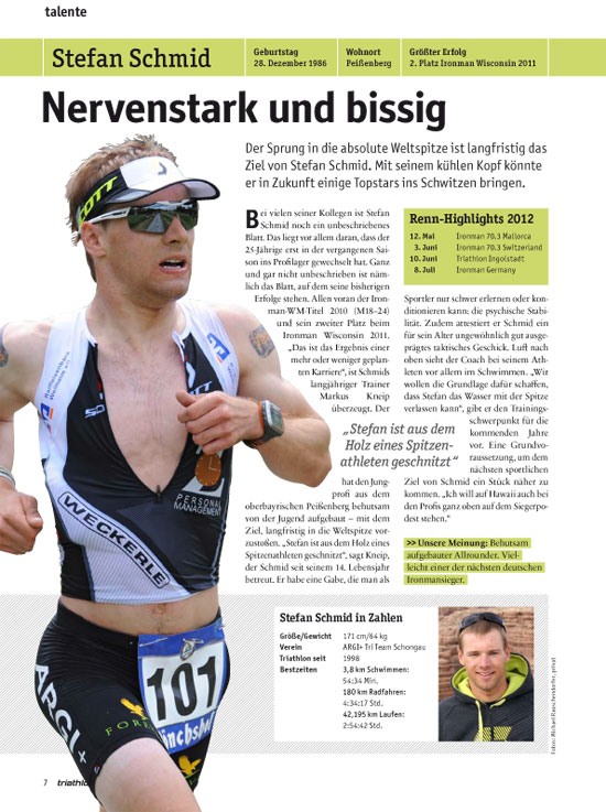 Vitargo Sportler Stefan Schmid im Triathlon Traininig Nr. 99