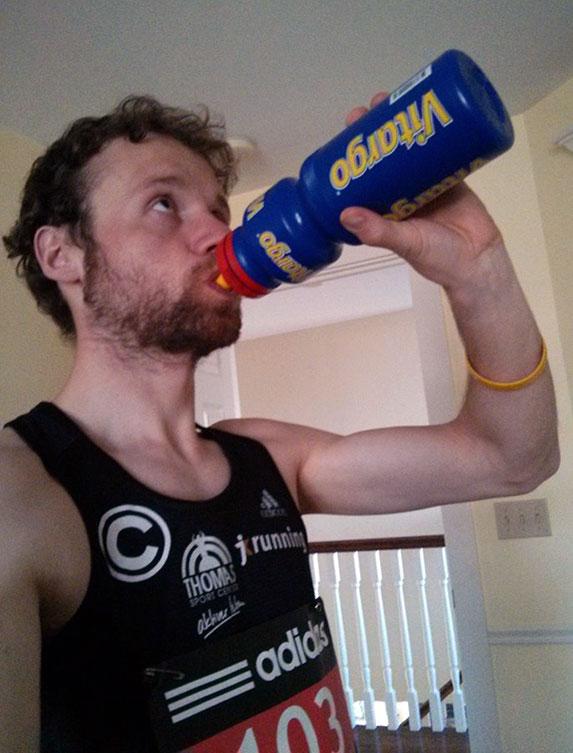 Marc Schulze mit Vitargo beim Boston Marathon