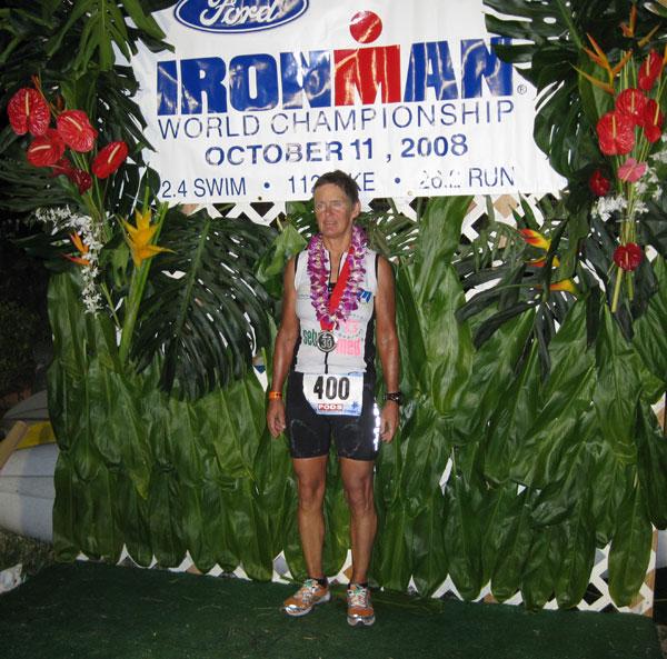Monika Wille glücklich im Ziel - Ironman Hawaii!